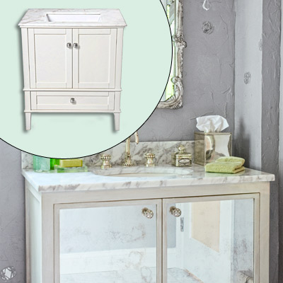 vanity with marble top and undermount sink