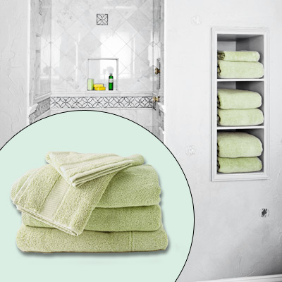 sea-green bath towels
