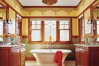 craftsman-style bath with wood accents