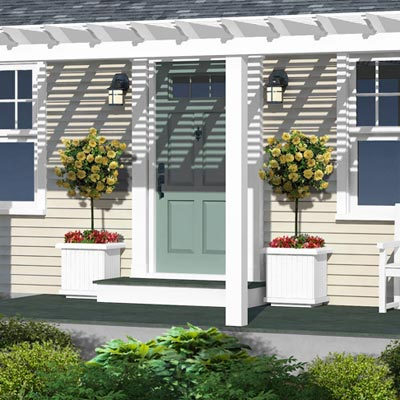 detail of exterior planters from a Photoshop remodel