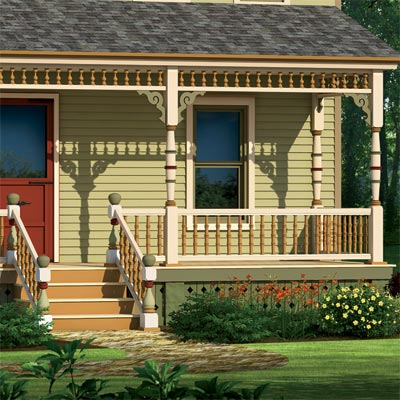 farmhouse illustrated in olive green scheme with focus on the porch skirt