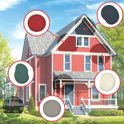 illustrated farmhouse in red scheme with paint dabs to show which colors went where