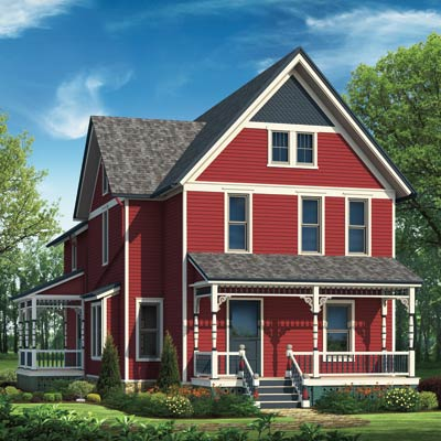 illustrated farmhouse in red scheme