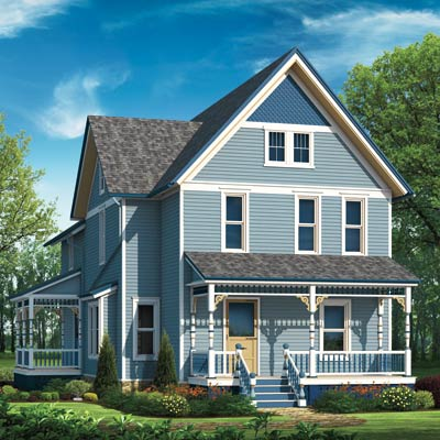 illustrated farmhouse in blue scheme