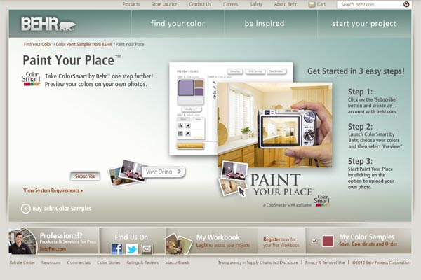 screen shot of Behr Paint Your Place painting app