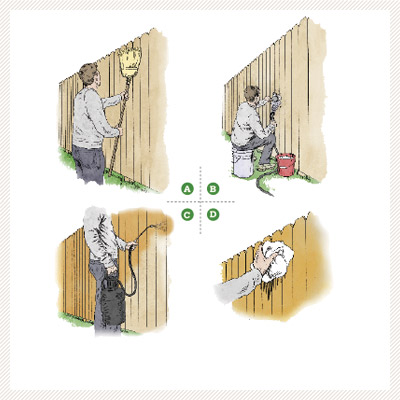 illustration how to on staining a fence