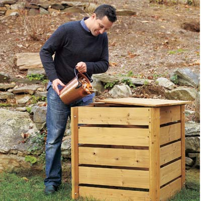 man pouring compost into compost bin, homeowner survival skills