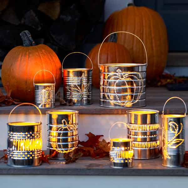 Halloween step-by-step for tin can lanterns