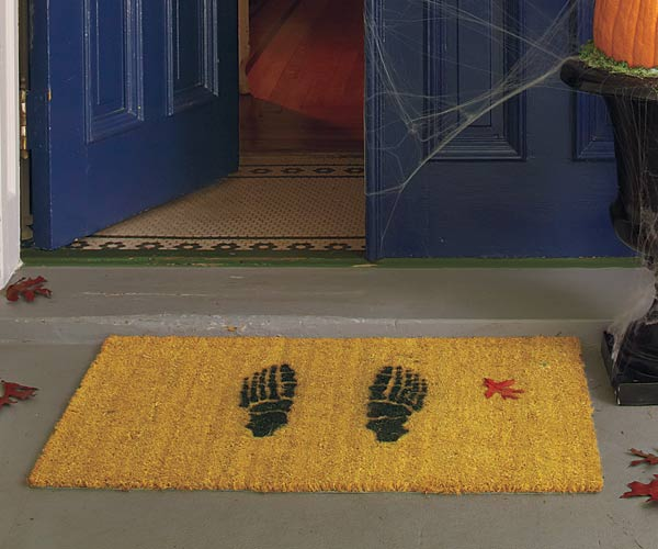 Halloween skill builder for how to make a skeleton foot print door mat