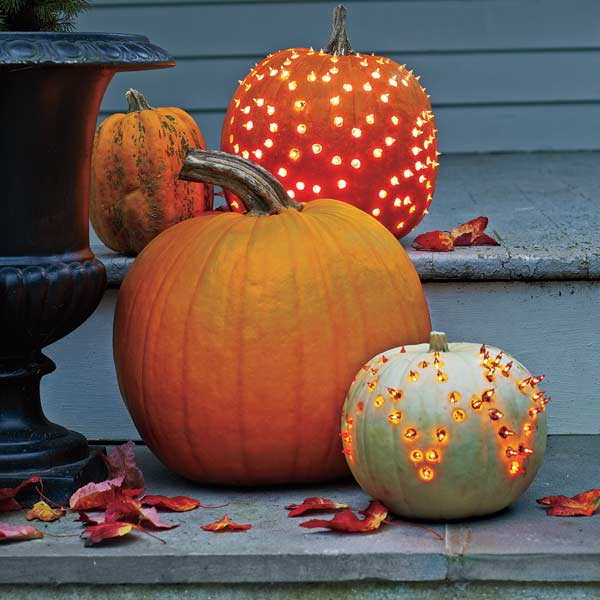 Halloween step-by-step for how to make pumpkin luminaries