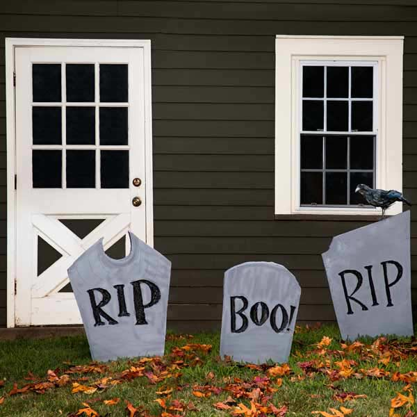 faux gravestones made with sturdy foam insulation for halloween, easy upgrades around the house throughout the year
