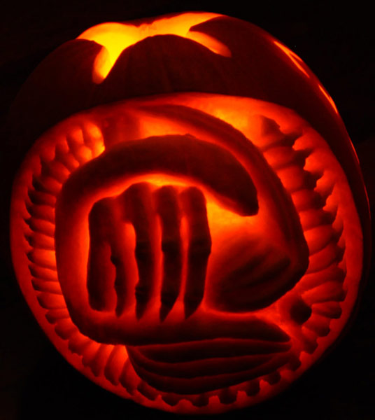 pumpkin carving contest inside of an alien egg