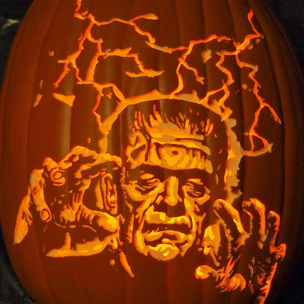 Electric frankenstein 40 best pumpkin carvings of monsters and villains this old house for Frankenstein pumpkin carving