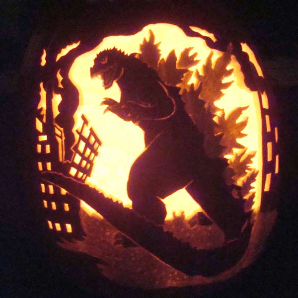 pumpkin carving contest godzilla