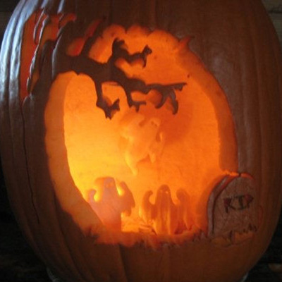 pumpkin carving contest ghosts in graveyard