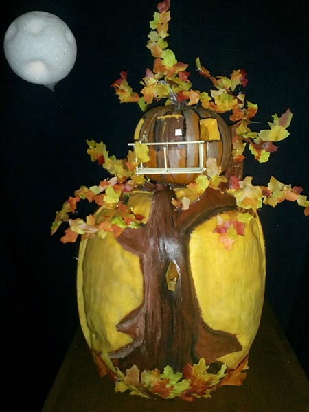 Fall Treehouse with Full Moon from the 2012 this old house Pumpkin-Carving Contest Winners gallery
