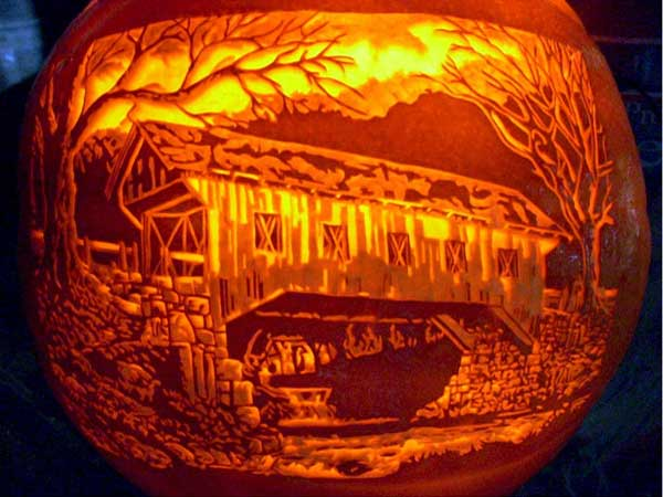 Covered Bridge from the 2012 this old house Pumpkin-Carving Contest Winners gallery