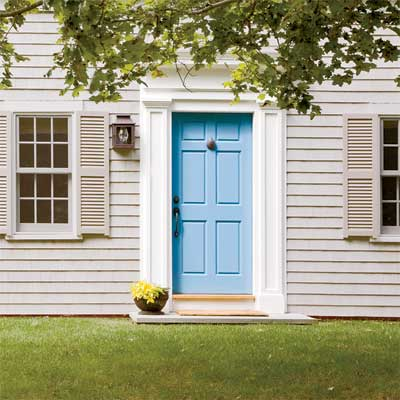 blue front door personalized with paint