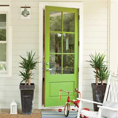 green front door personalized with paint
