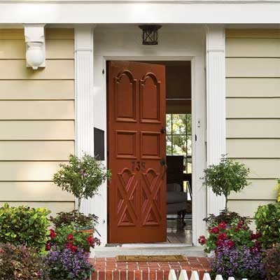 Reddish Brown front door personalized with paint
