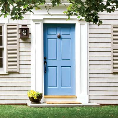 Cool Blue  front door personalized with paint