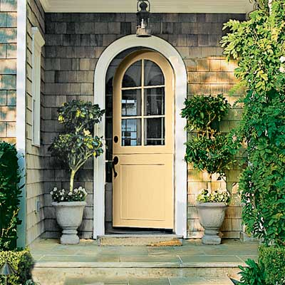 Honey Yellow front door personalized with paint