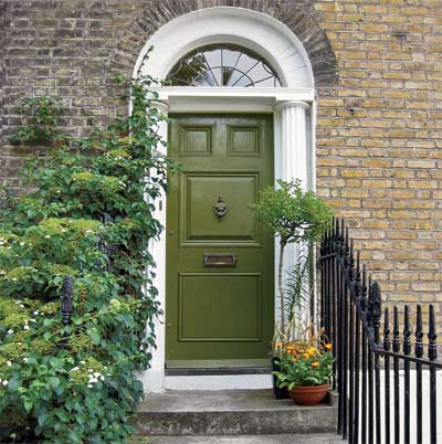 Loden Green front door personalized with paint