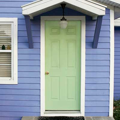 Seafoam Green front door personalized with paint