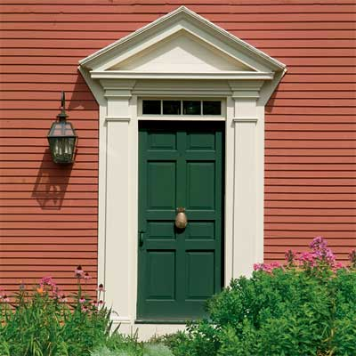 Colorful Siding: Deep Green front door personalized with paint