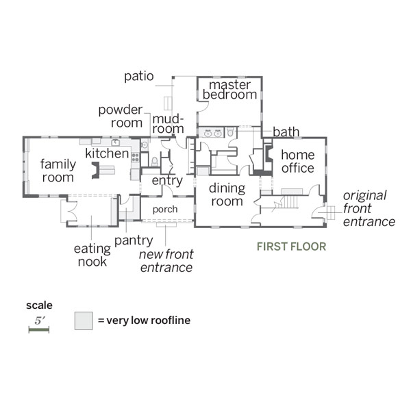 whole-house farmhouse remodel after first-floor floor plan