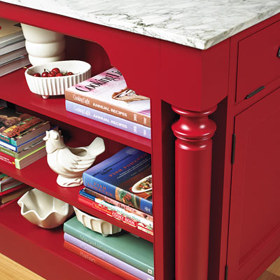 red Shaker-style flat-panel cabinet in kitchen island with oversized details