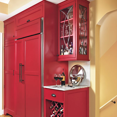 kitchen beverage station red Shaker-style flat-panel cabinets, barware and hidden fridge