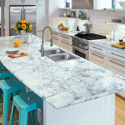 Formica laminate in Bianca Luna fuax white quartzite on kitchen counter