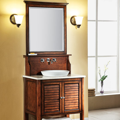 Yxlem Islander collection bath mirror, hutch, vanity, sink and cabinet 