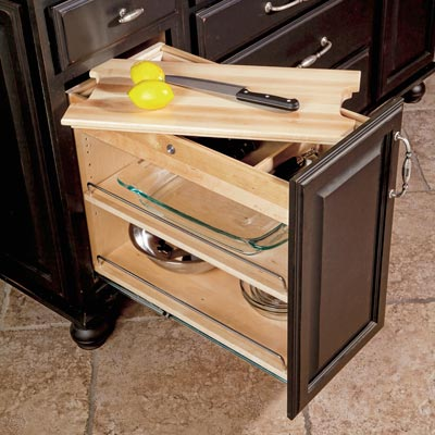 SmartCab from Hafele DIY custom kitchen base cabinet retrofit with interchangeable inserts