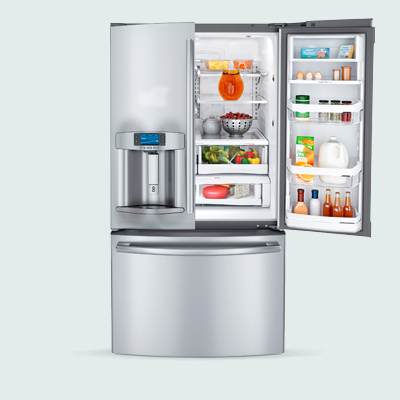 GE Profile French Door fridge with hands-free water dispenser, four temperature settings