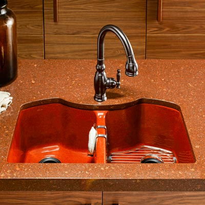 Kohler Bellegrove double-bowl cast-iron sink with contoured sides in Ember color