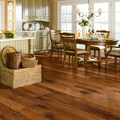 Shaw's Hudson Bay hickory plants wood floors with weathered graining