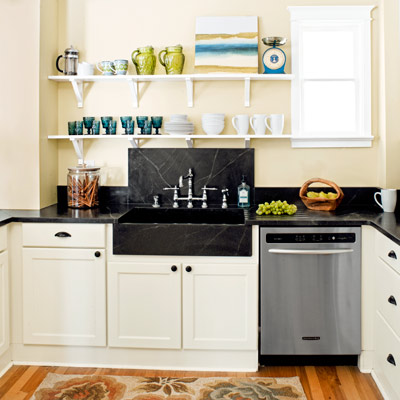 remodeled kitchen after with soapstone counters and open shelving