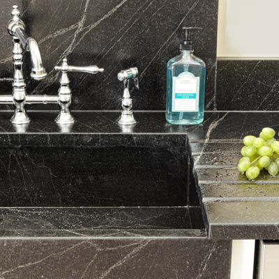 soapstone countertops with integrated sink