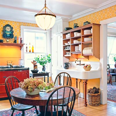 a farmhouse kitchen brightened up with color and rustic touches