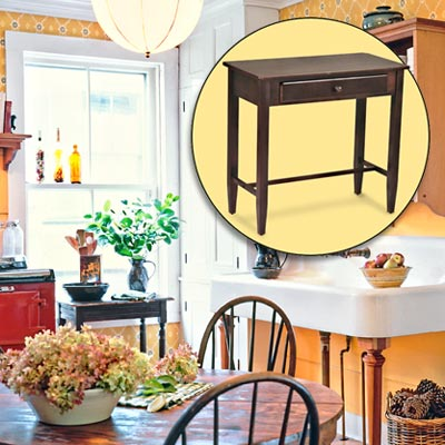 a farmhouse kitchen brightened up with color and rustic touches; inset of accent table