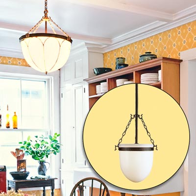 a farmhouse kitchen brightened up with color and rustic touches; inset of bowl pendant light fixture