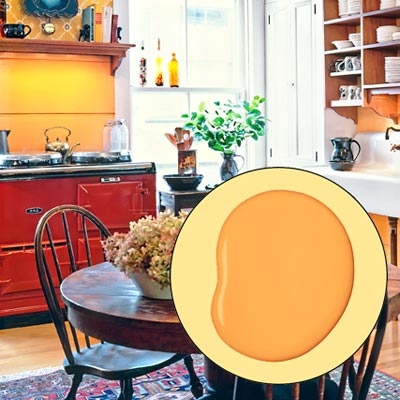 a farmhouse kitchen brightened up with color and rustic touches; inset of orange-yellow paint