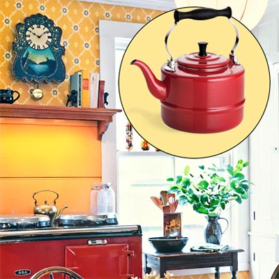 a farmhouse kitchen brightened up with color and rustic touches; inset of old-style teapot