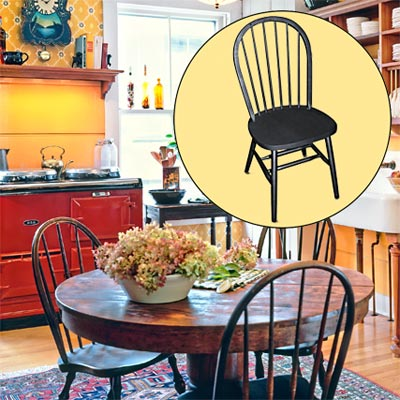 a farmhouse kitchen brightened up with color and rustic touches; inset of spindle-back chair
