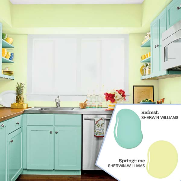 Soothing vintage blues and greens five no fail palettes for Kitchen colour palette ideas