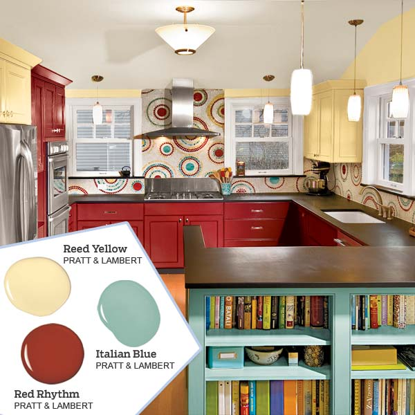 Bold red plus two more five no fail palettes for for Red kitchen paint ideas