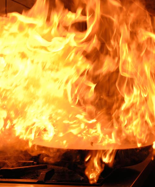grease fire catching fire on kitchen stove top