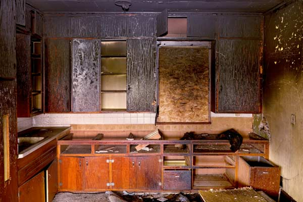 kitchen after house fire